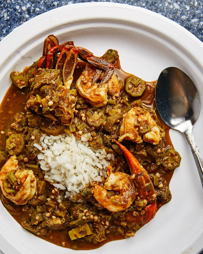 Dennis' spicy seafood gumbo with okra, whole shrimp, and blue crab claws