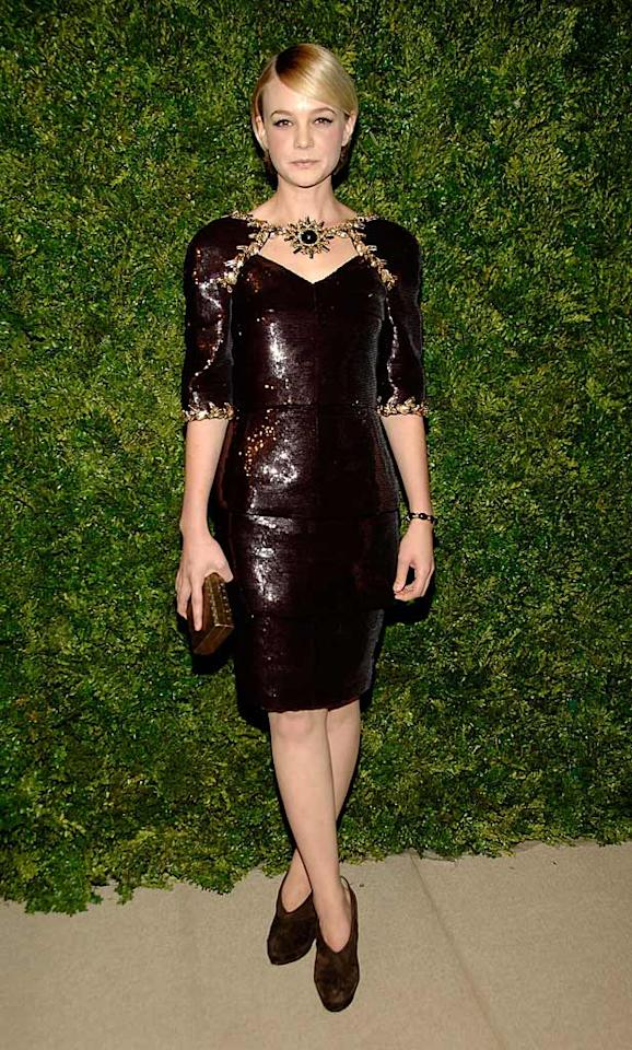 """Carey Mulligan, 25, burst into tears on the red carpet -- not because she aged herself drastically in a sequined Chanel dress and dowdy suede ankle boots, but because she received a call informing her she had <a href=""""http://omg.yahoo.com/news/carey-mulligan-beats-out-scarlett-natalie-blake-for-gatsby-role/50768"""" target=""""new"""">landed the role</a> of Daisy Buchanan in director Baz Luhrman's upcoming adaptation of """"The Great Gatsby."""" Ben Gabbe/<a href=""""http://www.gettyimages.com/"""" target=""""new"""">GettyImages.com</a> - November 15, 2010"""