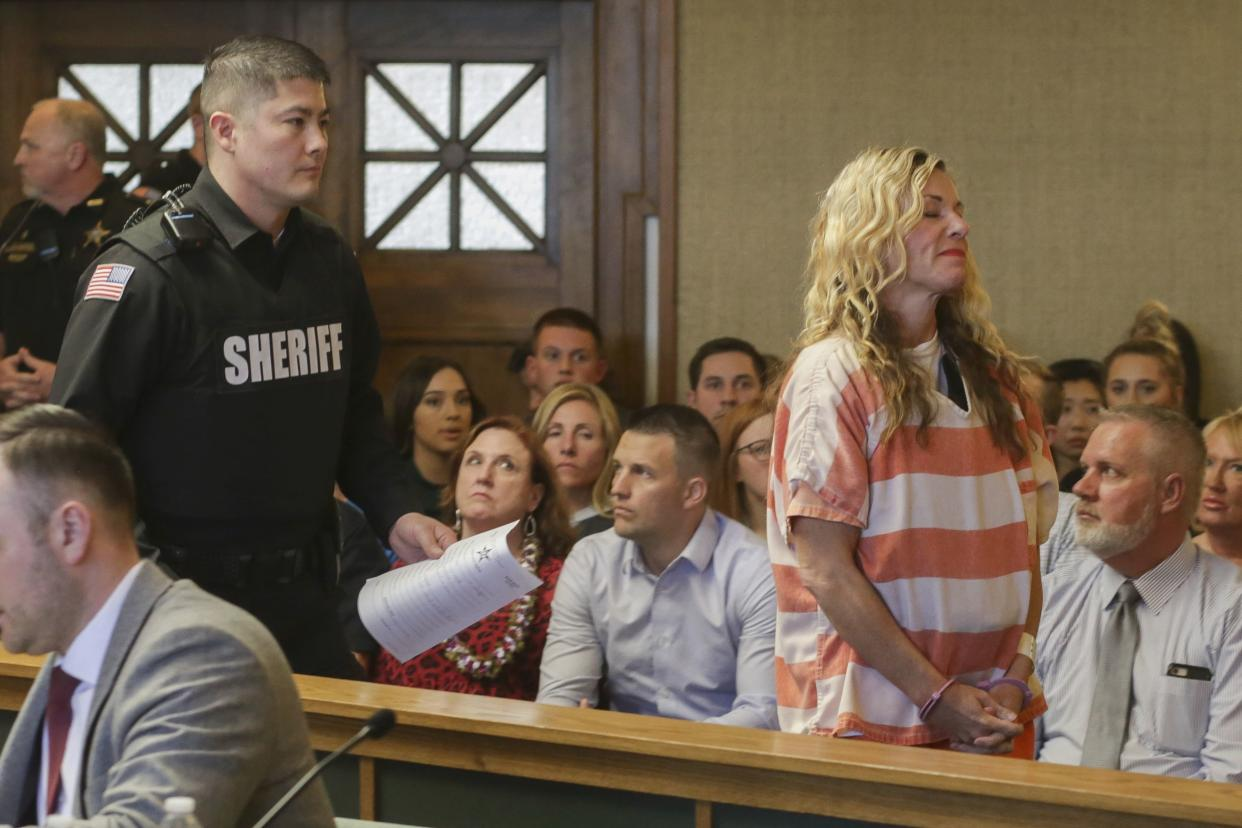 Lori Vallow Daybell leaves the courtroom during her hearing on Friday, March 6, 2020, in Rexburg, Idaho. Daybell who is charged with felony child abandonment after her two children went missing nearly six months ago had her bond reduced to $1 million by an Idaho judge on Friday.