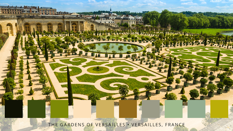"""<p>Situated to the west of the Palace of Versailles, these gorgeous gardens feature a mosaic of meticulous lawns, sculptures, fountains and around 800 hectares of land. Expect a neutral colour palette of greens, greys and beige.</p><p><strong>Like this article? <a href=""""https://hearst.emsecure.net/optiext/cr.aspx?ID=zsATrj4qAwL7PXfHOfbti0xjie5wOfecvOt8e1A3WvL5x0TsMrTgu8waUpN%2BcCNsV3wq_zCaFTleze"""" rel=""""nofollow noopener"""" target=""""_blank"""" data-ylk=""""slk:Sign up to our newsletter"""" class=""""link rapid-noclick-resp"""">Sign up to our newsletter</a> to get more articles like this delivered straight to your inbox.</strong></p><p><a class=""""link rapid-noclick-resp"""" href=""""https://hearst.emsecure.net/optiext/cr.aspx?ID=rEIqRuDcS16UGvb2CsG9coU7Y5ojOQn7P8im9ejs0NiFp18n8XFjb_nzImbDz5wFw3EeZozf_PGbri"""" rel=""""nofollow noopener"""" target=""""_blank"""" data-ylk=""""slk:SIGN UP"""">SIGN UP</a></p><p><strong>Looking for some positivity? Get </strong><strong>Country Living</strong><strong> magazine posted through your letterbox every month. </strong></p><p><a class=""""link rapid-noclick-resp"""" href=""""https://go.redirectingat.com?id=127X1599956&url=https%3A%2F%2Fwww.hearstmagazines.co.uk%2Fcl%2Fcountry-living-magazine-subscription-website&sref=https%3A%2F%2Fwww.countryliving.com%2Fuk%2Fhomes-interiors%2Fgardens%2Fg36457546%2Ffamous-gardens-colour-palettes%2F"""" rel=""""nofollow noopener"""" target=""""_blank"""" data-ylk=""""slk:SUBSCRIBE NOW"""">SUBSCRIBE NOW</a></p>"""