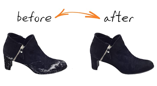 Before & after using Boot Rescue All Natural Cleaning Wipes
