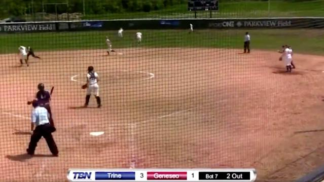 Trine University pulled off a walk-off pick-off using the hidden ball trick to advance to the DIII College World Series. (Via @Jessica0820_)