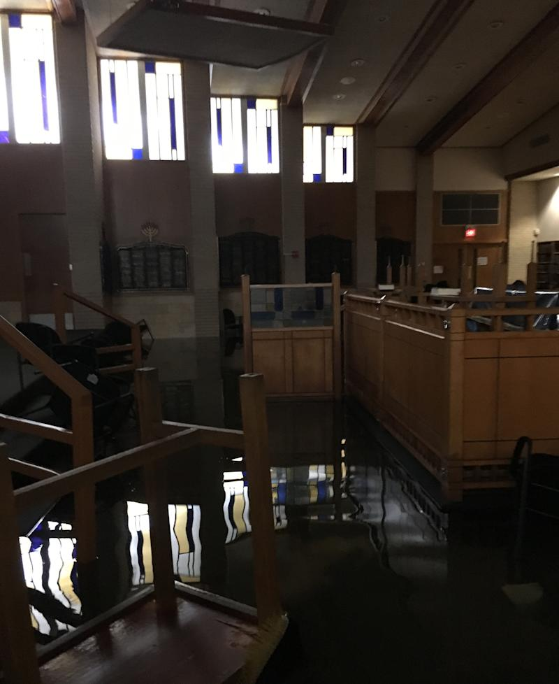 The main sanctuary in southwest Houston was flooded after the storm.