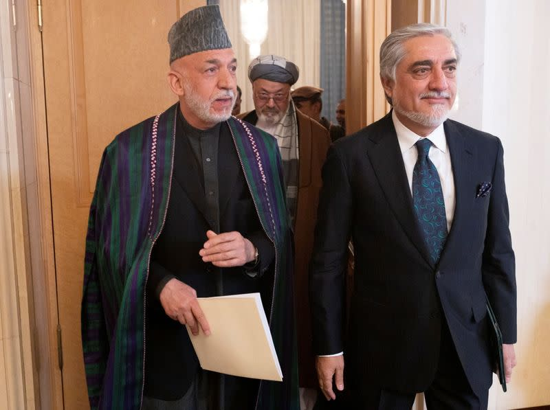 Afghan former President Hamid Karzai attends the Afghan peace conference in Moscow