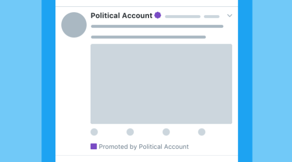 Twitter is considering using badges -- purple in this example-- to more clearly identify political ads on the network.
