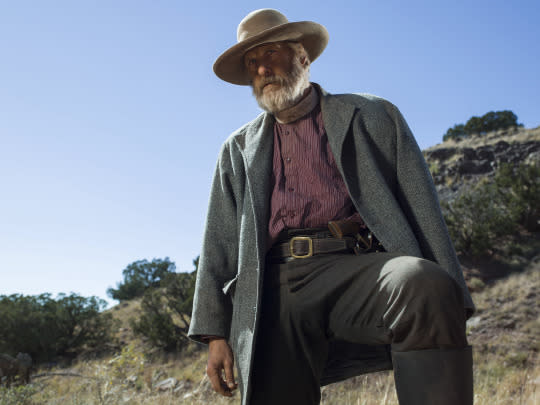 <p>The band of bandits is led by merciless Frank Griffin, who'd always considered Roy his son. Now Griffin and his boys are hot on Roy's trail and willing to make anyone — or any town — pay for his betrayal.<br />(Photo: James Minchin/Netflix) </p>