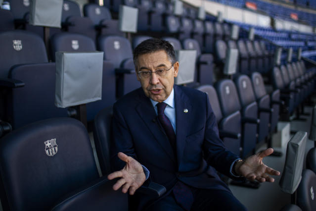 """In this Friday, Nov. 8, 2019, photo, President of FC Barcelona Josep Bartomeu speaks during and interview with the Associated Press at the Camp Nou stadium in Barcelona, Spain. Bartomeu told The Associated Press on Friday that """"we are preparing this post Messi era."""" (AP Photo/Emilio Morenatti)"""