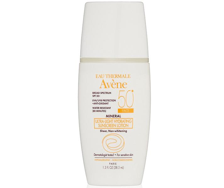 """<p>Avène Mineral Ultra-Light Hydrating Sunscreen Lotion SPF 50+, $28; at <a rel=""""nofollow"""" href=""""http://www.aveneusa.com/mineral-ultra-light-hydrating-sunscreen-lotion-spf-50"""">Avène</a></p> <p></p>"""