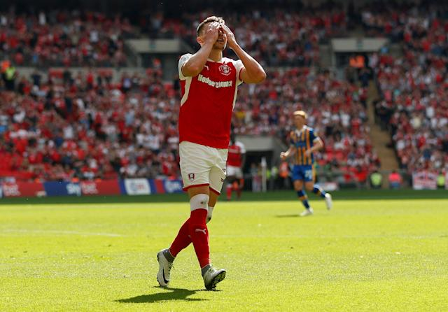 "Soccer Football - League One Play-Off Final - Rotherham United v Shrewsbury Town - Wembley Stadium, London, Britain - May 27, 2018 Rotherham United's Caolan Lavery reacts after missing a chance to score Action Images/Carl Recine EDITORIAL USE ONLY. No use with unauthorized audio, video, data, fixture lists, club/league logos or ""live"" services. Online in-match use limited to 75 images, no video emulation. No use in betting, games or single club/league/player publications. Please contact your account representative for further details."