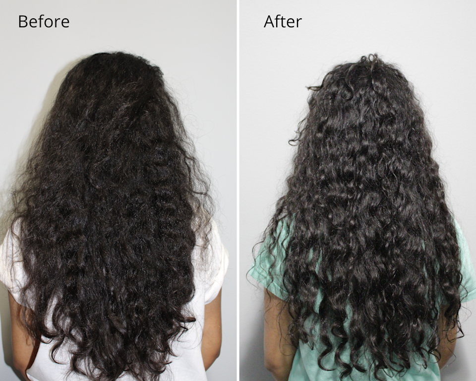 Before and after results showcasing long curly hair using the intense bond repair hair mask.
