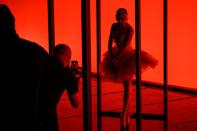 Lithuanian national opera and ballet singers and dancers perform for TikTok videos in Vilnius