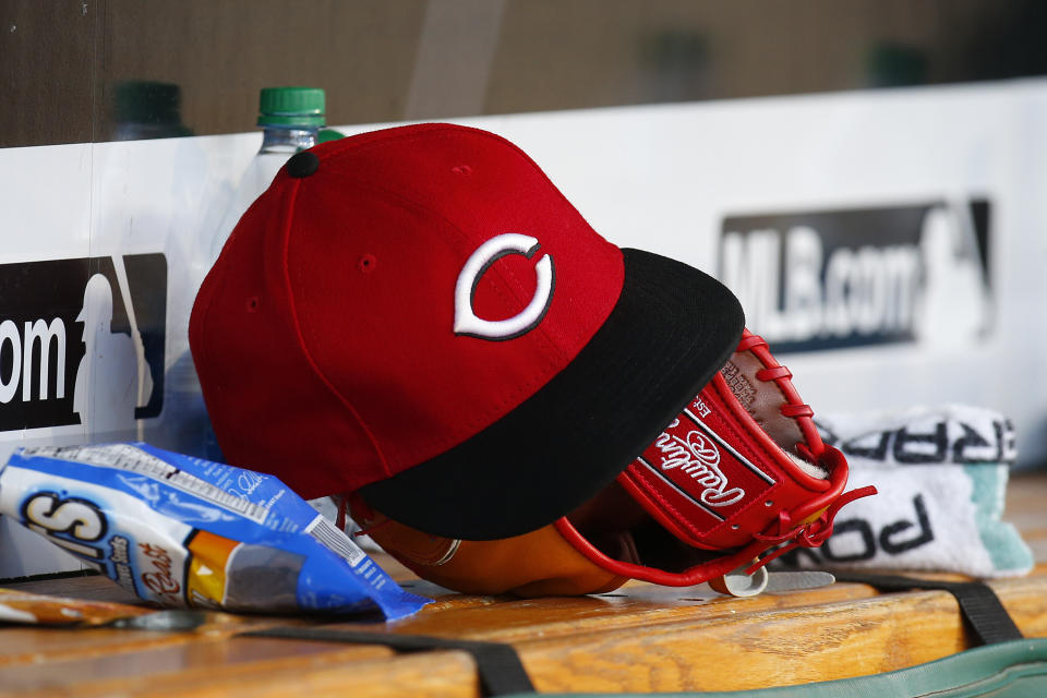 PITTSBURGH, PA - JUNE 15:  A New Era Cincinnati Reds baseball cap is seen in action against the Pittsburgh Pirates at PNC Park on June 15, 2018 in Pittsburgh, Pennsylvania.  (Photo by Justin K. Aller/Getty Images)
