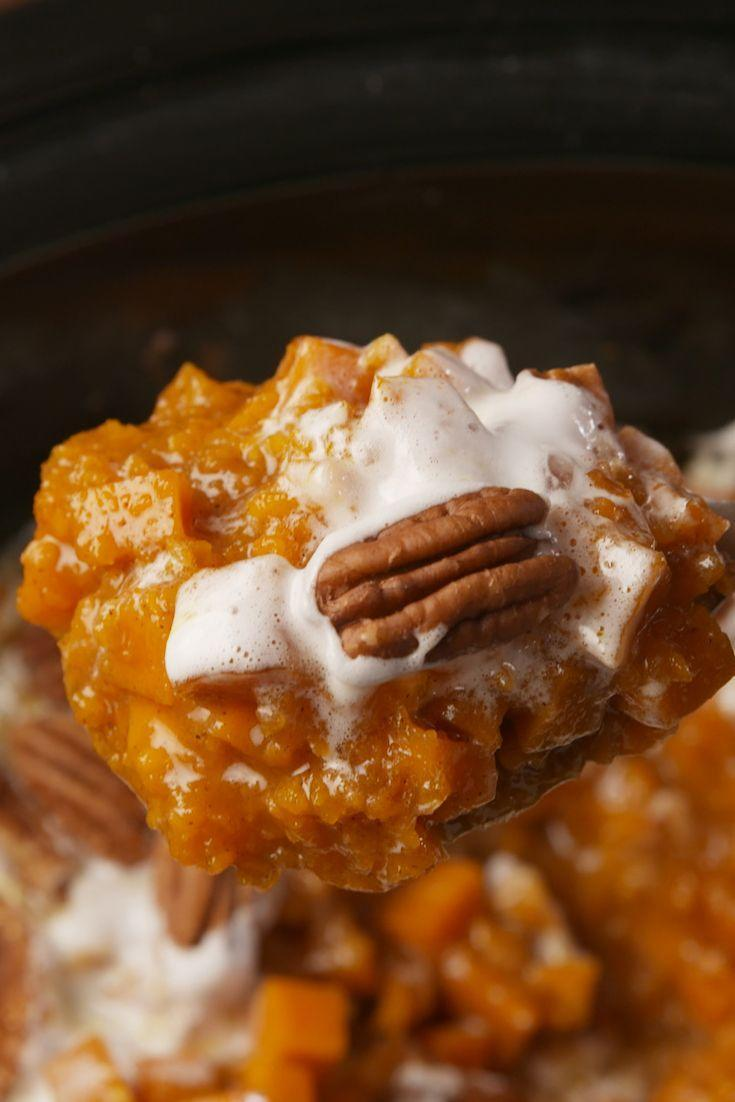 """<p>Take a break and let your Crock-Pot do some work this Thanksgiving.</p><p>Get the recipe from <a href=""""https://www.delish.com/cooking/recipe-ideas/recipes/a56583/crock-pot-sweet-potato-casserole-recipe/"""" rel=""""nofollow noopener"""" target=""""_blank"""" data-ylk=""""slk:Delish"""" class=""""link rapid-noclick-resp"""">Delish</a>. </p>"""