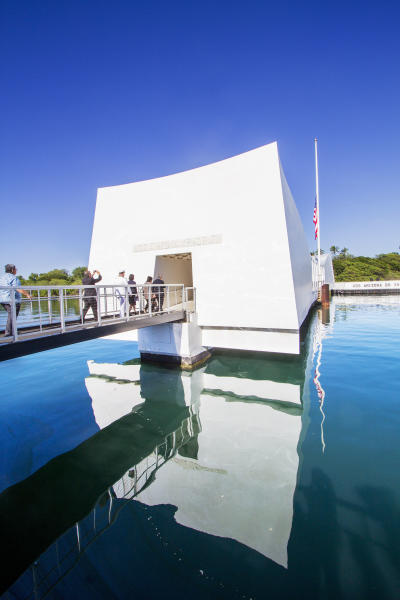 The distinguished visitors and Pearl Harbor survivors visited the Arizona Memorial Thursday, Dec. 7, 2017, in Honolulu, Hawaii. Gov. David Ige and wife Dawn Amano Ige, front, and Adm. Scott Swift and his wife leading everyone into the Arizona Memorial. (Dennis Oda /The Star-Advertiser via AP, Pool)