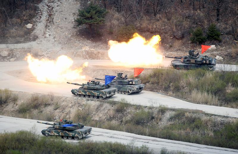 A U.S.-South Korea joint military exercise near the demilitarized zone separating North and South Korea. (Kim Hong-Ji/Reuters)