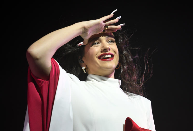MADRID, SPAIN - DECEMBER 10: Rosalia performs on stage at WiZink Center on December 10, 2019 in Madrid, Spain. (Photo by Europa Press Entertainment/Europa Press via Getty Images)