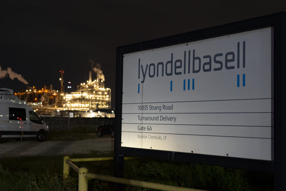 This Tuesday, July 27, 2021 photo shows the entrance of the LyondellBasell facility in La Porte, Texas. An explosion Tuesday evening killed two people at the facility and left several others injured. (Mark Mulligan/Houston Chronicle via AP)