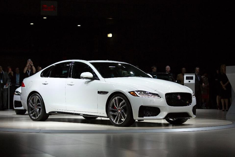 Jaguar unveiled its XF saloon at the New York International Auto Show in April 2015 (AFP Photo/Kevin Hagen)