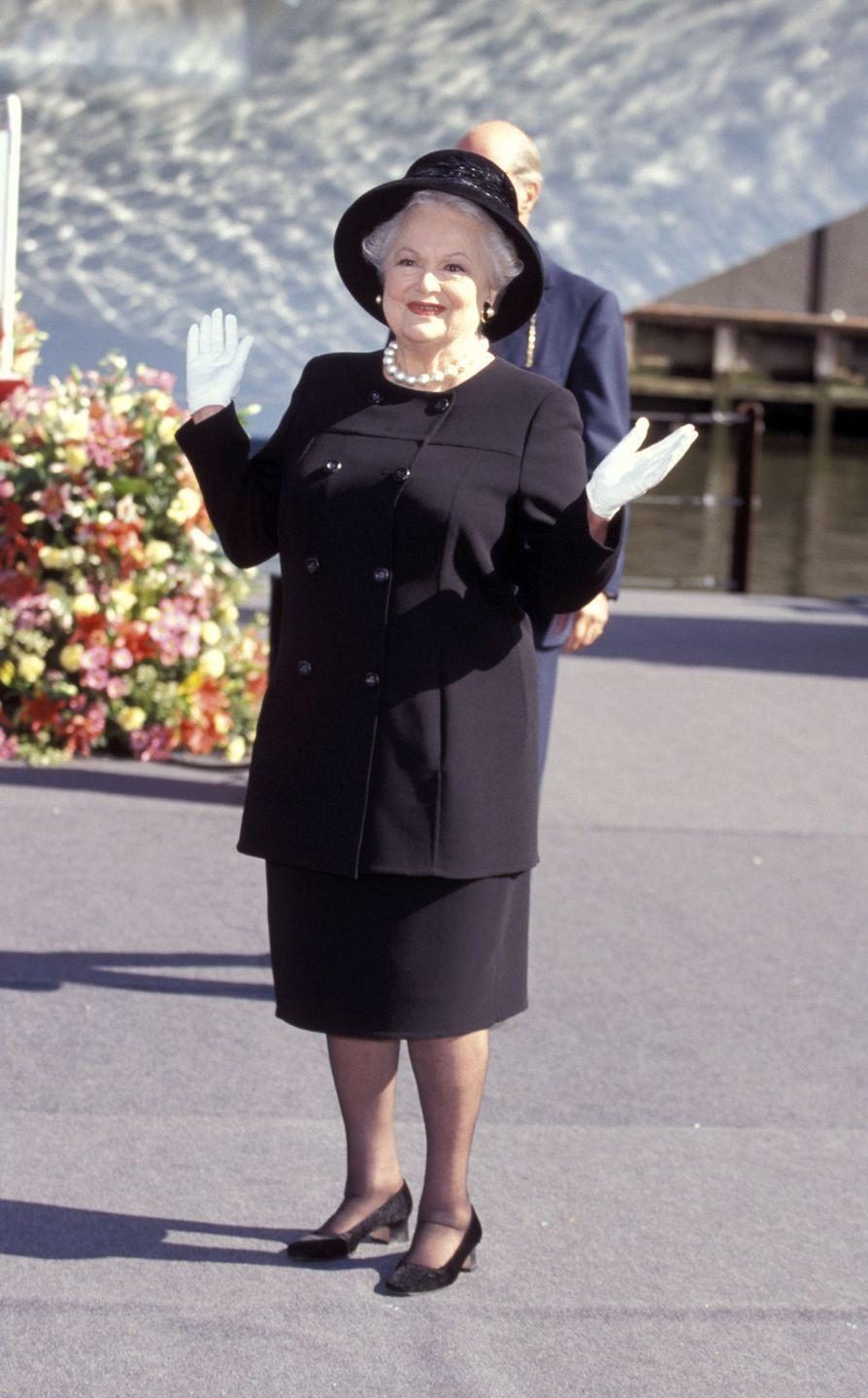 <p>Olivia at the christening of the New Grand Princess Cruise Ship in New York City in 1998.</p>