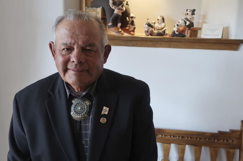 All Pueblo Council of Governors Chairman E. Paul Torres poses after a gathering of tribal leaders on Thursday, March 21, 2019, in Acoma Pueblo, about 60 miles west of Albuquerque, New Mexico. Native American leaders are banding together to pressure U.S. officials to prevent oil and gas exploration around Chaco Culture National Historical Park, which features the remnants of an ancient civilization. (AP Photo/Felicia Fonseca)