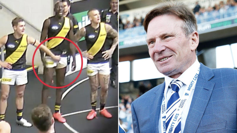 Sam Newman (pictured right) smiling and Jayden Short (pictured left) allegedly caught groping Richmond teammate Mabior Chol.