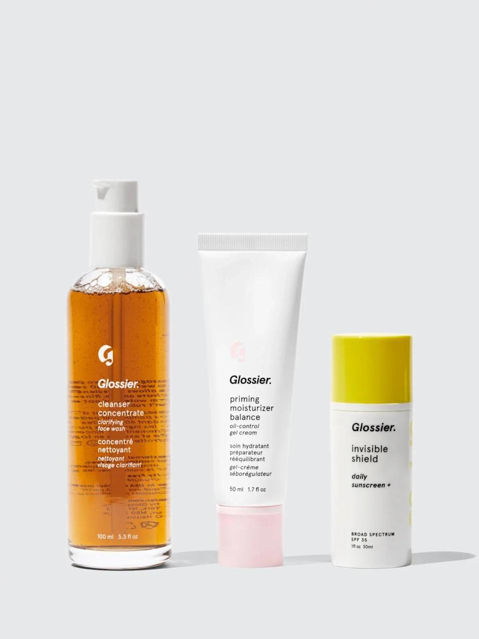 """<br><br><strong>Glossier</strong> Special #2: The Summer Skin Routine, $, available at <a href=""""https://www.glossier.com/products/special-2-the-summer-skin-routine"""" rel=""""nofollow noopener"""" target=""""_blank"""" data-ylk=""""slk:Glossier"""" class=""""link rapid-noclick-resp"""">Glossier</a>"""