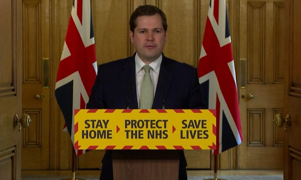 Screen grab of Housing, Communities and Local Government Secretary Robert Jenrick during a media briefing in Downing Street, London, on coronavirus (COVID-19).