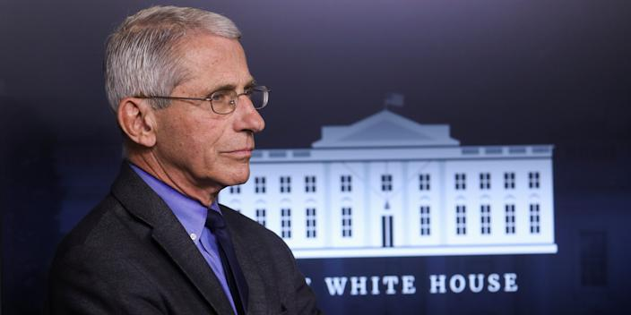 FILE PHOTO: National Institute of Allergy and Infectious Diseases Director Dr. Anthony Fauci attends the daily coronavirus task force briefing at the White House in Washington, U.S., April 13, 2020. REUTERS/Leah Millis