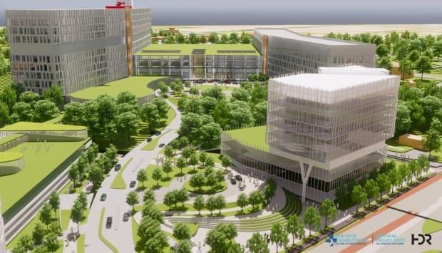 The main entrance for a future Civic campus of the Ottawa Hospital will include a glass atrium that lets in natural light. The 11-storey south tower, with a helipad on the roof, and seven-storey north tower will house outpatient care clinics and inpatient units. (The Ottawa Hospital - image credit)