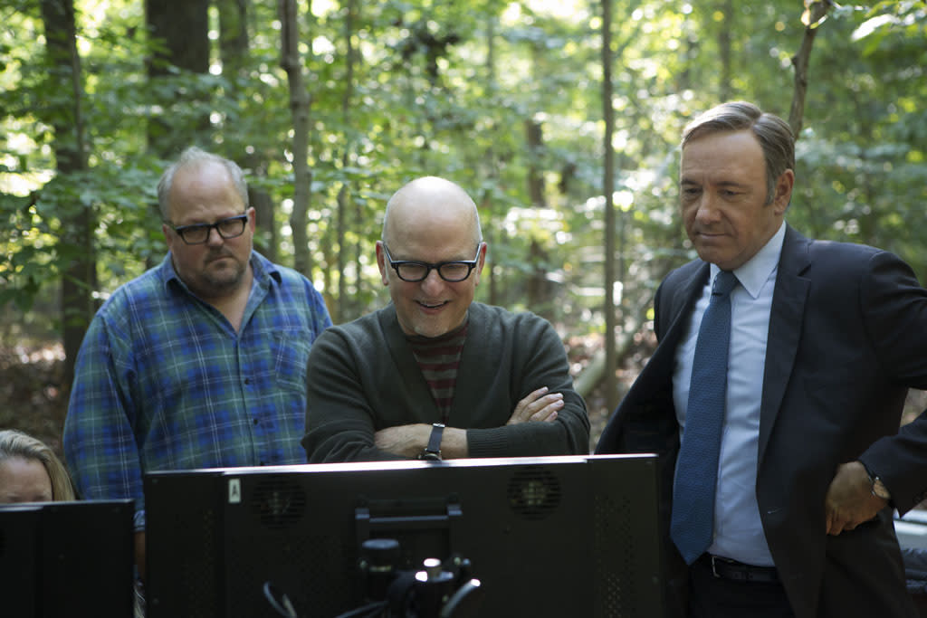 "Director of photography Tim Ives, director Allen Coulter and Kevin Spacey on the set of Netflix's ""House of Cards."""