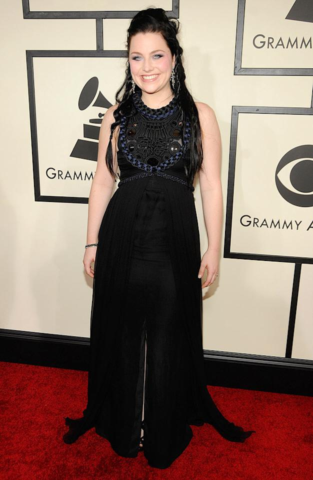 "Evanescence lead singer, Amy Lee, nominated for Best Hard Rock Performance, went goth in an all-black ensemble. Kevin Mazur/<a href=""http://www.wireimage.com"" target=""new"">WireImage.com</a> - February 10, 2008"