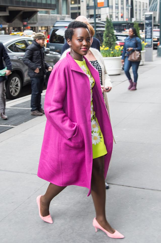 <p>Nyong'o wears the Max Mara Lilia coat in 2016. (Photo: Courtesy of Max Mara) </p>