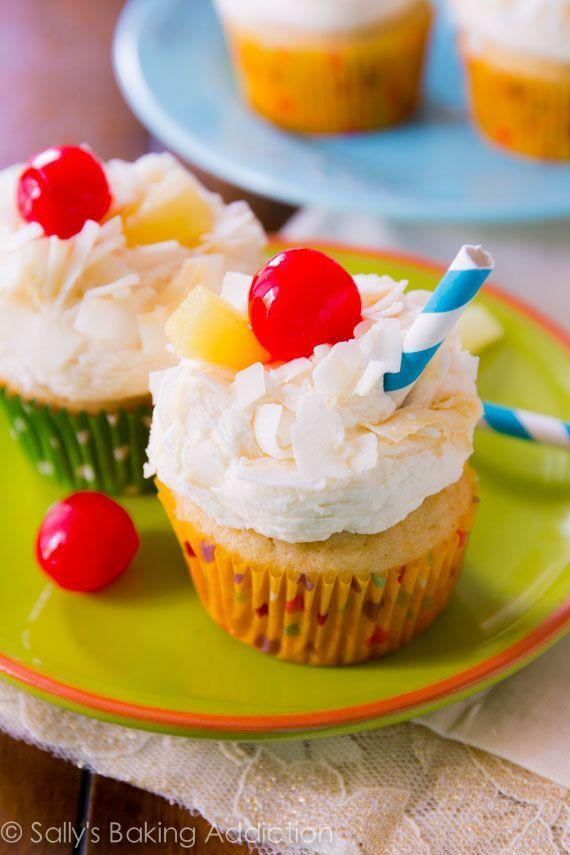 """<p>You'll feel like you're sitting on the beach with a drink in your hand.</p><p>Get the recipe from <a href=""""http://sallysbakingaddiction.com/2014/04/02/pina-colada-cupcakes/"""" rel=""""nofollow noopener"""" target=""""_blank"""" data-ylk=""""slk:Sally's Baking Addiction"""" class=""""link rapid-noclick-resp"""">Sally's Baking Addiction</a>.</p>"""
