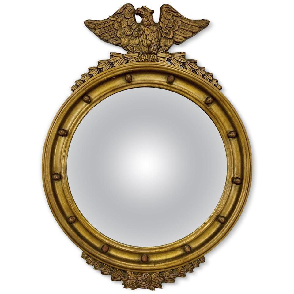 """<p>These gilt-framed bull's eye mirrors are often capped with an eagle, which was a popular patriotic motif of our then-newly independent country. It's also thought that the 13 balls around the edge symbolize the 13 original colonies. Mirrors of the actual Federal period date to 1780–1830 and fetch top dollar, while nice 19th- or early-20th-century """"in the style of"""" examples sell for much less.</p><p><strong>What it's worth:</strong> $100 to $10,000</p>"""