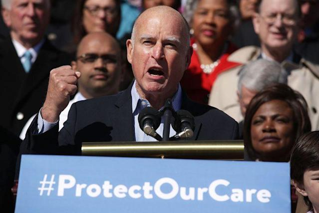 California Gov. Jerry Brown speaks during an event on health care at the U.S. Capitol March 22, 2017. (Photo: Alex Wong/Getty Images)