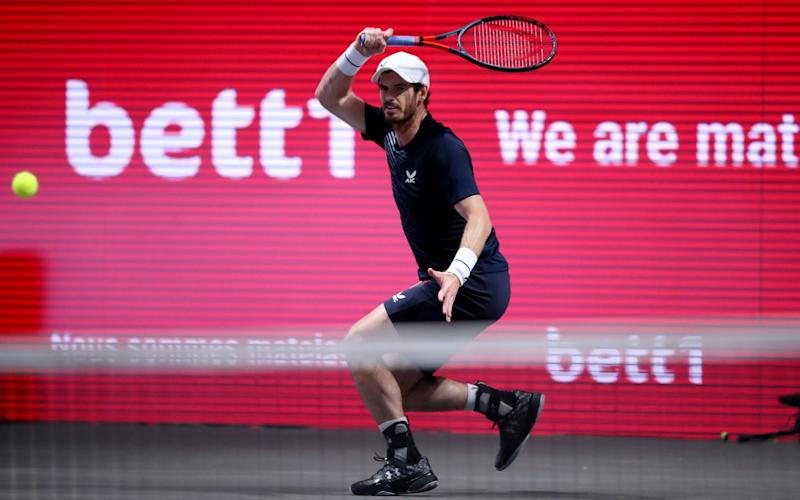 Andy Murray of Great Britain plays a forehand during the match between Fernando Verdasco of Spain and Andy Murray of Great Britain two of the Bett1Hulks Indoor tennis tournament at Lanxess Arena on October 13, - Christof Koepsel/Getty Images