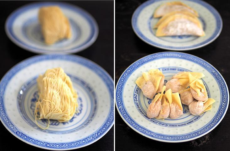 The noodles are frozen and can be kept up to three months. Just defrost them before cooking in boiling water (left). The 'wantans' and dumplings are frozen so cook them straight from the freezer in a pot of boiling water (right)