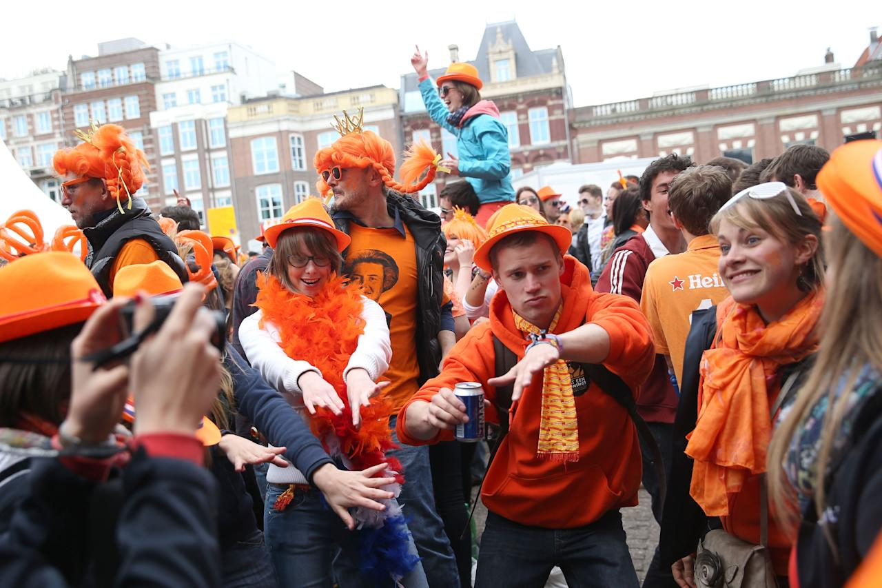 AMSTERDAM, NETHERLANDS - APRIL 30:  A general view of celebrations for the inauguration of King Willem Alexander of the Netherlands as Queen Beatrix of the Netherlands abdicates on April 30, 2013 in Amsterdam, Netherlands.  (Photo by Chris Jackson/Getty Images)