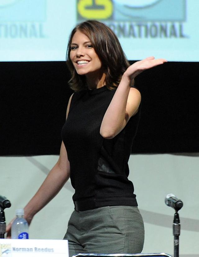 "Lauren Cohan speaks onstage at AMC's ""The Walking Dead"" panel during Comic-Con International 2013 at San Diego Convention Center on July 19, 2013 in San Diego, California."