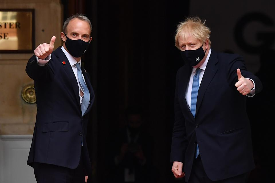Boris Johnson has been urged to consider Dominic Raab's position as foreign secretary. (Getty)