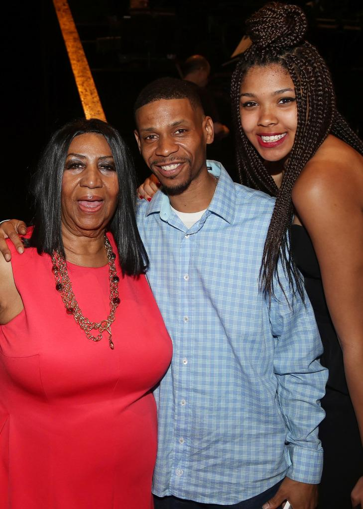 Aretha Franklin with son Kecalf and granddaughter Victorie.
