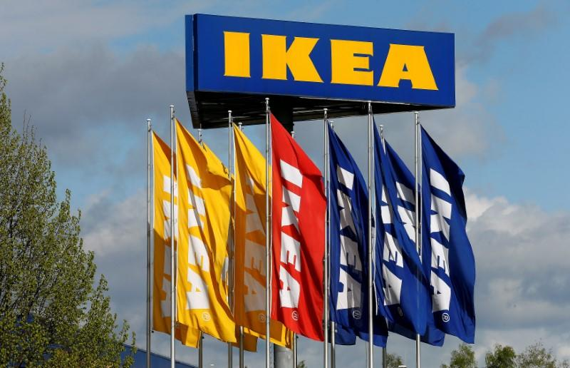 FILE PHOTO: Flags and the company's logo are seen outside of an IKEA Group store in Spreitenbach, Switzerland