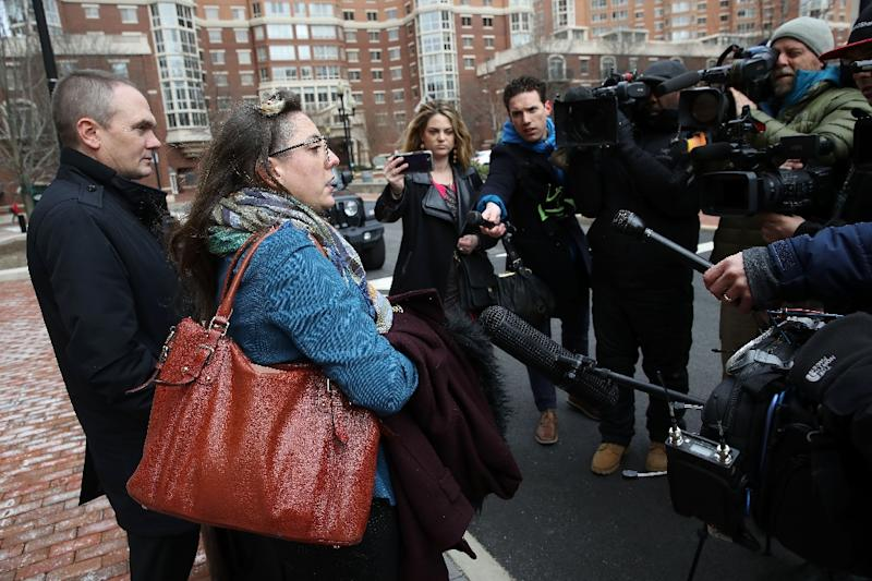 Manning's attorneys Moira Meltzer-Cohen (R) and Christopher Leibig (L), speak outside the Albert V. Bryan Courthouse in Alexandria, Virginia after their client was jailed for contempt (AFP Photo/WIN MCNAMEE)
