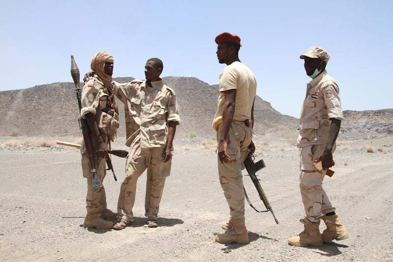 Sudanese soldiers patrol west of the Yemeni coastal port town of Mokha, on April 12, 2017
