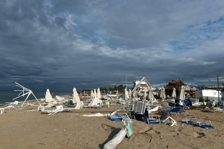 The storm wreaked havoc on beaches near Greece's second ciy Thessaloniki