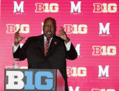 FILE p- In this July 18, 2019, file photo, Maryland head coach Mark Locksley responds to a question during the Big Ten Conference NCAA college football media days in Chicago. Big Ten is going to give fall football a shot after all. Less than five weeks after pushing football and other fall sports to spring in the name of player safety during the pandemic, the conference changed course Wednesday, Sept. 16, 2020, and said it plans to begin its season the weekend of Oct. 23-24.(AP Photo/Charles Rex Arbogast, File)