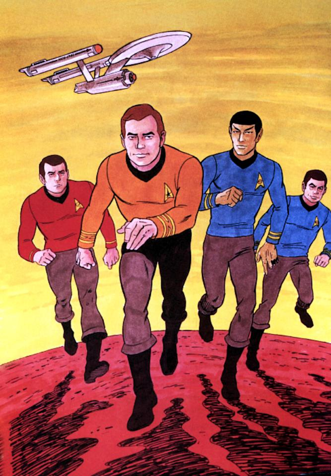 <p>The short-lived (but much-loved) cartoon series sought to preserve the look of the live action show, right down to the sweater-and-pants combo. In this picture, at least, Kirk went for a more orange hue in his choice of shirts.<br /><br />(Photo: Paramount/Courtesy Everett Collection) </p>