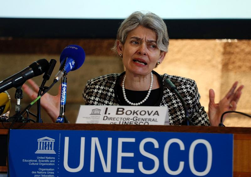 "UNESCO chief Irina Bokova says the destruction at Palmyra is a ""crime against civilisation"" (AFP Photo/Francois Guillot)"