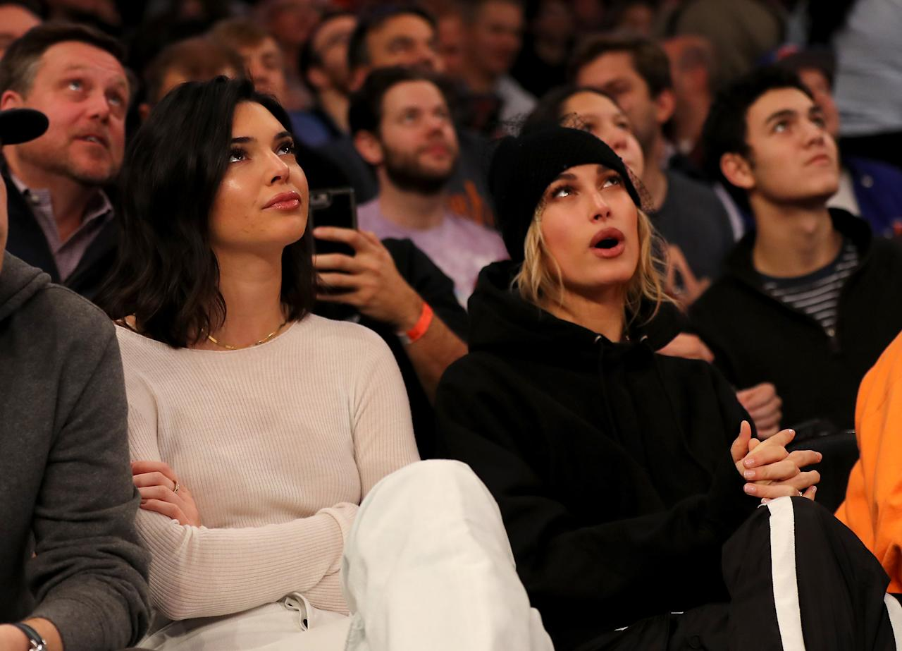 Kendall Jenner and Hailey Baldwin attend the game between the New York Knicks and the Los Angeles Clippers at Madison Square Garden on November 20, 2017.