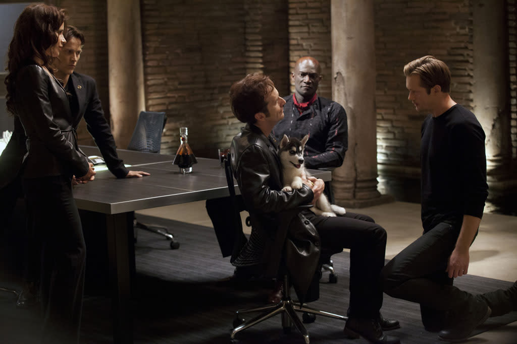"Valentina Cervi, Stephen Moyer, Denis O'Hare, Peter Mensah and Alexander Skarsgard in the ""True Blood"" episode, ""Gone, Gone, Gone."""